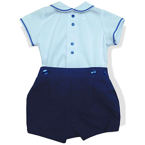 White Polo and Royal Blue Shorts Set