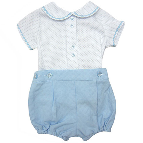 White Spotted Polo and Blue Shorts Set