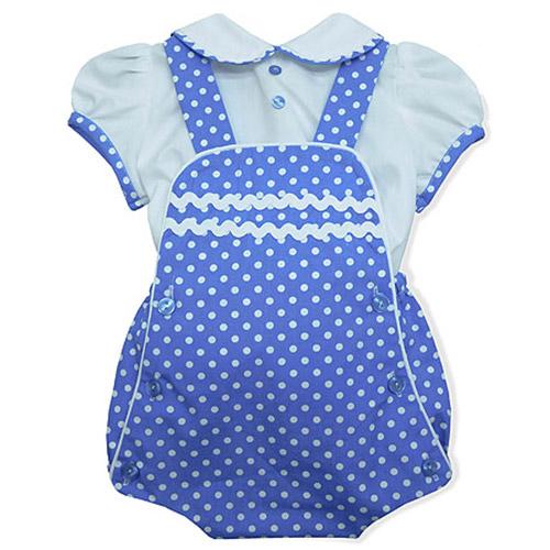 Blue Polka Dot Baby Romper