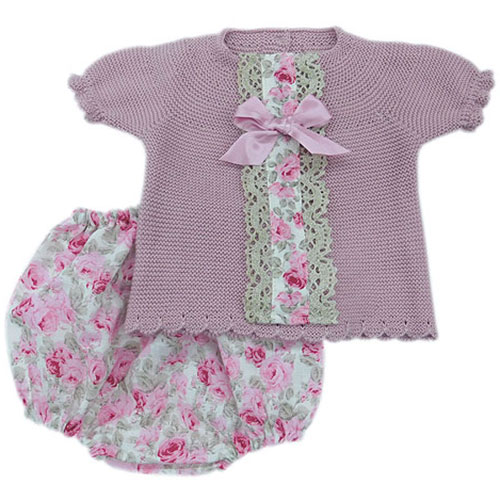 Knitted Rose Print Top and Jam Pants
