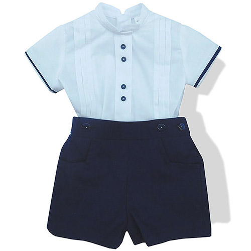 Band Collar Shirt and Royal Blue Shorts Set
