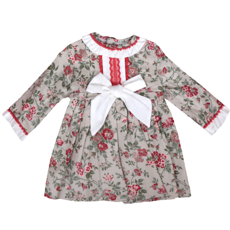 floral long sleeved baby dress
