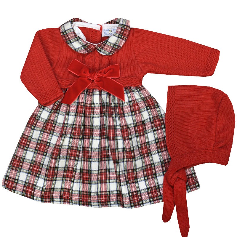 Knitted Tartan Red & White Dress With Bonnet